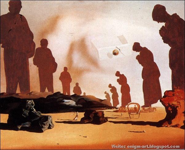 """Salvador Dali, """"Moment de transition réaliser par l'atavisme psychopathologique et crépusculaire de tous les Angélus de Millet"""", 1957-1959, Paris"""