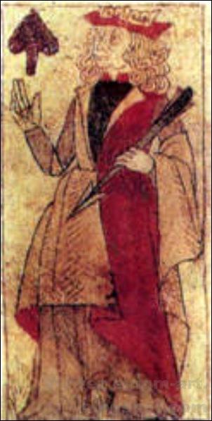 Roi de pique, Jeu de cartes fabriqué à Lyon, 1490 [1600x1200]