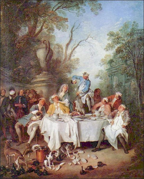 Histoire des salles à manger de Versailles Nicolas%20Lancret,%20Le%20d%C3%A9jeuner%20de%20jambon,%201735_thumb