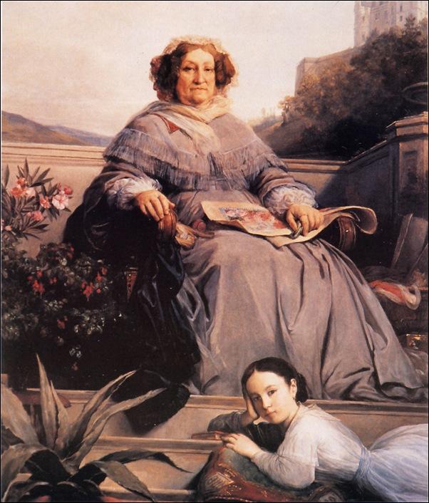 Portrait de la Veuve Clicquot avec Anne de Montemart-Rochechouart peinte par Léon Cogniet , 1860