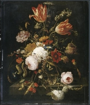 Abraham Mignon, Fleurs dans une carafe avec une branche de pois et un escargot