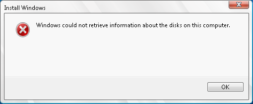 Windows could not retrieve information about the disks on this computer