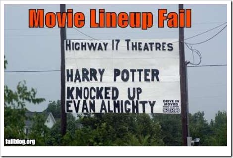 Funny Harry Potter movie lineup fail.