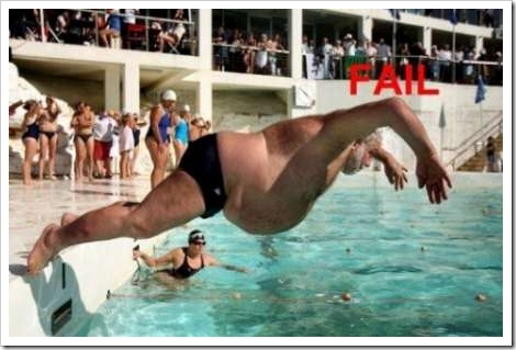Man failing in pool.