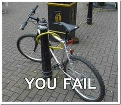 Bicycle theft prevention fail.