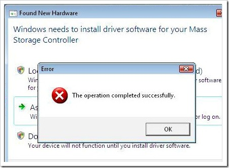 Windows Driver Install Fail - Error The operation completed successfully.