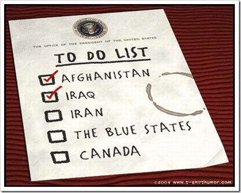 Funny To Do Lists | George Bush invading Iraq.