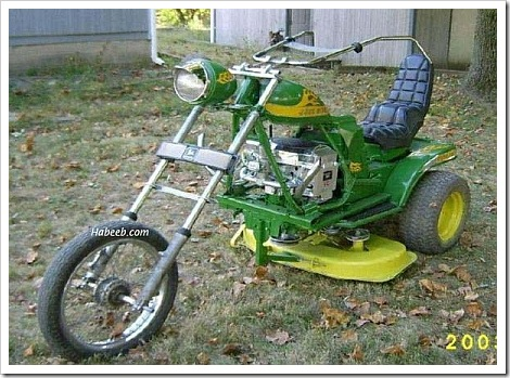 Funny lawnmower bike.