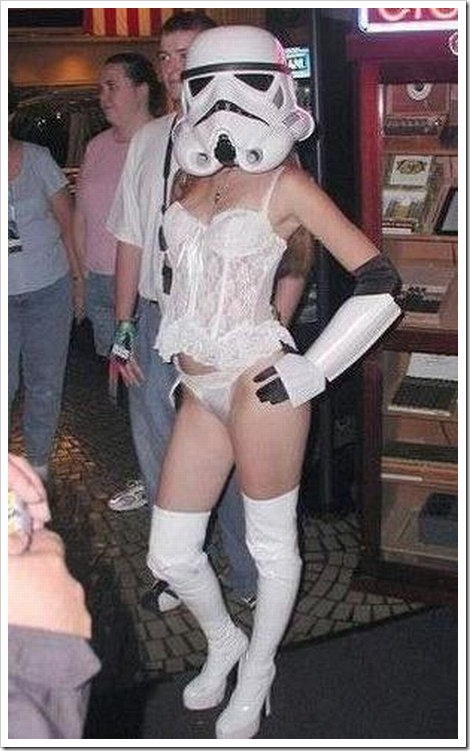 Sexy girl with star wars trooper costume.