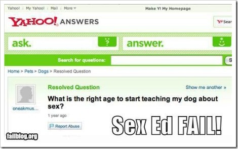 Yahoo Answers screenshot - Teaching dog about sex.