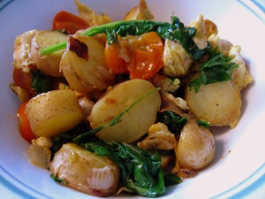 fingerling potatoes, eggs, spinach, Sungold cherry tomatoes