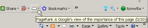 Screenshot of Google Toolbar showing a Page Rank of 0/10