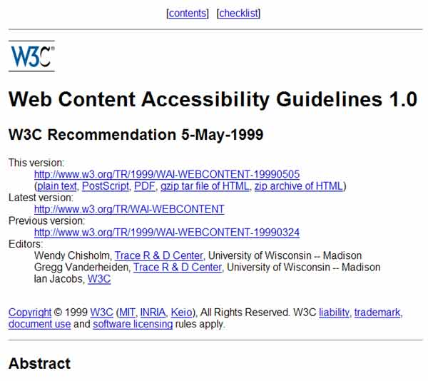 Screenshot of W3C Accessibility Guidelines page July 23, 2010 - 600px