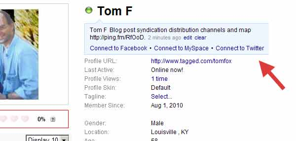 Screenshot of www.tagged.com/tomfox