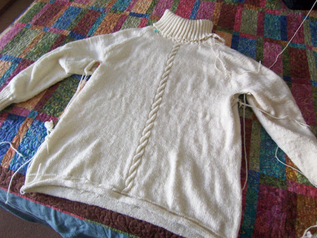 The first sweater before finishing.