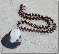 Chocolate Pearl Necklace with Shell Pendant 2