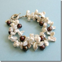 Two-Strand White Keshi and Brown Pearl Bracelet