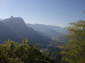 View overlooking Urique Canyon & rivers.