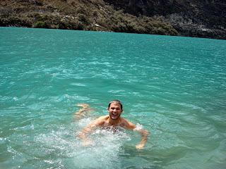 Joshua in Freezing Water (Laguna Orconchocha, Peru)