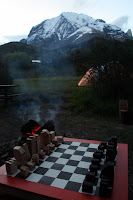 Vasilisa & Joshua's Handmade Chess Set at AMA Campground (Torres Del Paine, Chile)