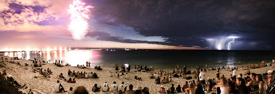APOD: Comet Between Fireworks and Lightning