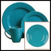 4 Piece Boxed Place Setting with Rimmed Soup Plate in Turquoise