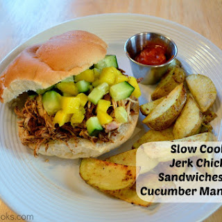Slow Cooker Jerk Chicken Sandwiches with Cucumber Mango Salsa
