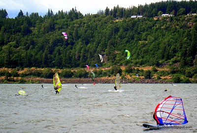 Kites and surfers on the Columbia River