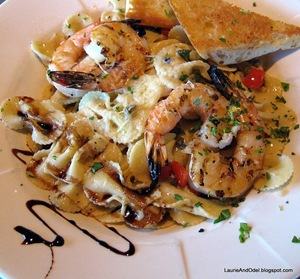 Pasta with shrimp at Indian Creek