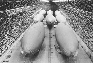 Blimps at rest in the hanger