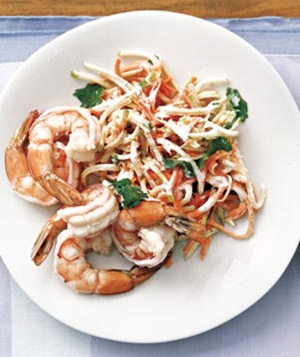 "Real Simple's ""Shrimp with Carrot Slaw""."