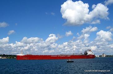 Big freighter heading upriver.