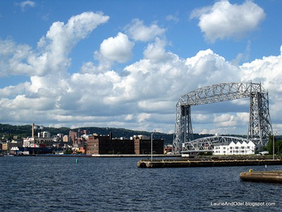 The Aerial Lift Bridge, view from the end of the marina/rv park