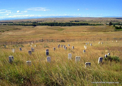 The markers on Last Stand Hill, overlooking the Little Bighorn Valley.  Custer's marker has the black face, near the middle.