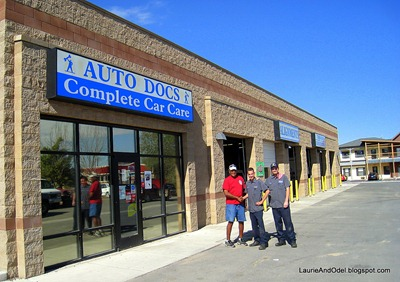 Odel, Ryan and Jason outside Auto Docs