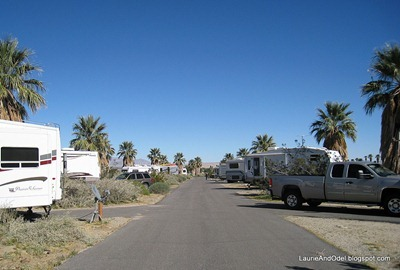 Rows of RV campsites in A-B
