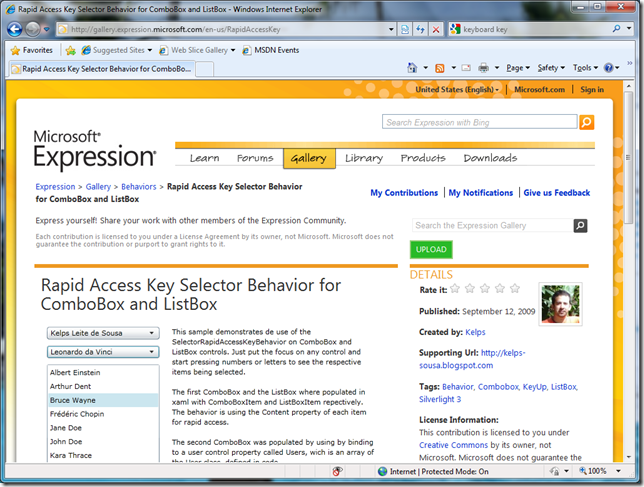 SelectorRapidAccessKeyBehavior no Microsoft Expression Gallery
