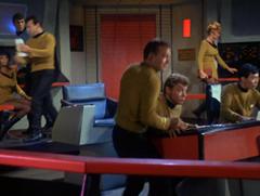 Uhura, Spock, Bobby, Kirk, Bailey, #46, Sulu