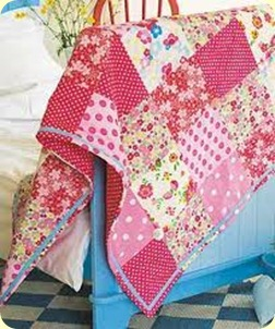 baby polka dot and roses quilt