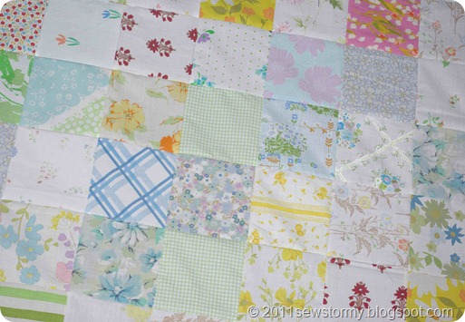 Vintage Sheet Quilt Closeup