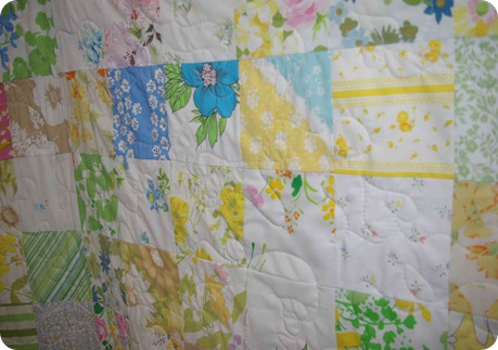 Vintage Sheet Quilt close-up
