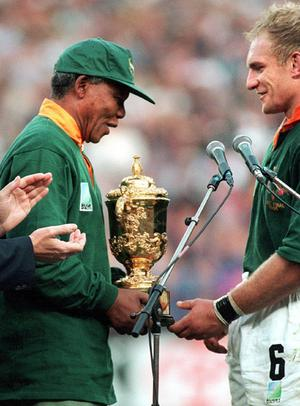 The real Nelson Mandela and Francois Pienaar