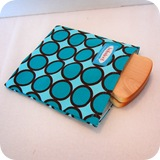 sandwich bag turq dots with bread