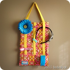barrette organizer pink yellow