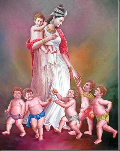 Rajini-gift-to-Kamal-Hassan-Art-Goddess-carries-Kamal-Hassan