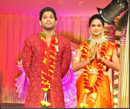 Allu Arjun Sneha Reddy wedding reception pictures