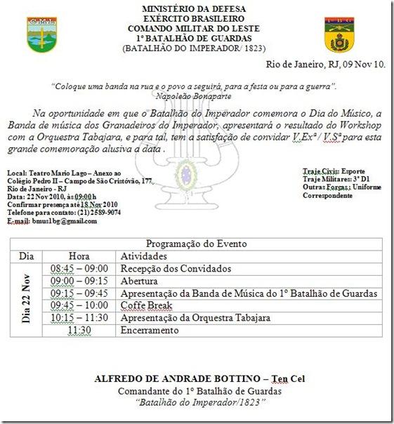 Convite 22 Nov 2010 1º BG Orquestra Tabajara