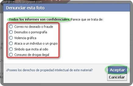 Denunciar imagen Facebook