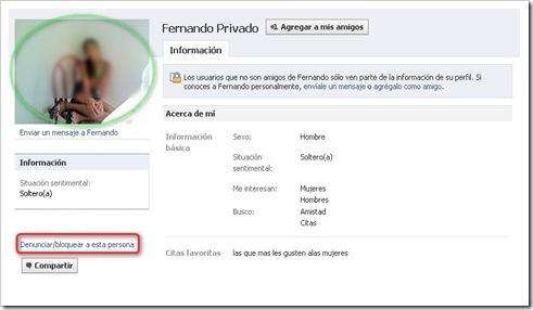 Denunciar perfil Facebook
