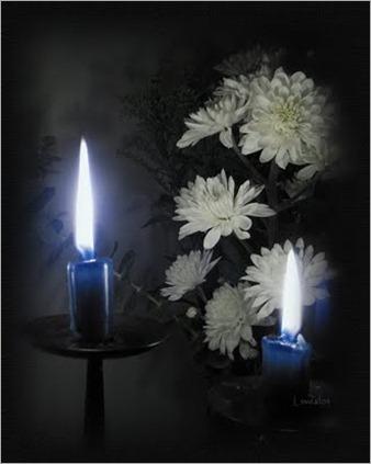 luz velas azules.